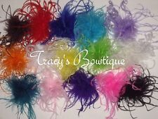 "15 Girls Curly Ostrich Feather Puffs Hair Bows on Lined Alligator Clips 3""- 4"""