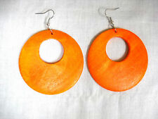 NEW XL HOT BRIGHT ORANGE STAINED REAL WOOD ROUND DANGLING WOODEN HOOP EARRINGS