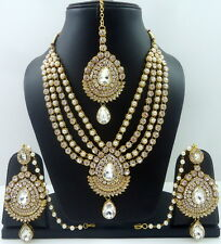 WHITE PEARL CZ GOLD TONE BOLLYWOOD PARTY WEAR NECKLACE SET INDIAN JEWELRY 4 PCS