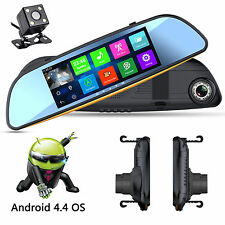 Dual Camera HD 1080P 7'' Rear View Mirror Android 4.4 WIFI GPS Recorder Car DVR