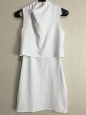 XSmall Topshop White Terry Popover Cowl Neck Sleeveless Rear Zip Dress EUC 7827