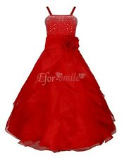 Red Flower Girl Princes Dress Kids Party Pageant Wedding Bridesmaid Ball Gown 6T