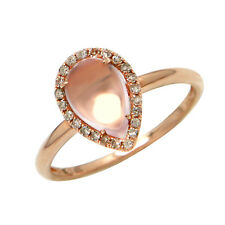 14K ROSE GOLD PAVE DIAMOND ROSE PINK QUARTZ PEAR SHAPED COCKTAIL HALO RING
