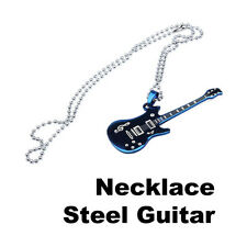 Cool Fashion Boy Men Guitar Long Pendant Necklace Chain Stainless Steel Jewelry