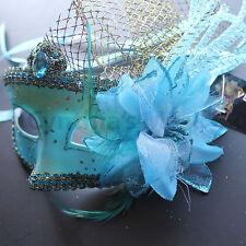 Aqua Venetian Floral Specked  Masquerade Mask for Prom Ball Mardi  Party
