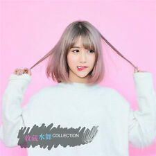 Korea Girl's BoBo air bangs Short Sweet cute Grey Pink Daily Wig Hair +wig cap