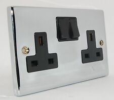 Double 2 Gang Silver / Satin / Twin / Plug Electric Wall Socket Switched - Black