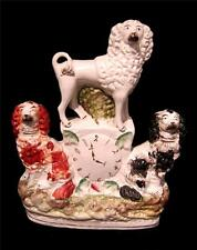 Staffordshire Dog Clock Group - Red & Black Spaniel & Poodle C19th 4pm Time