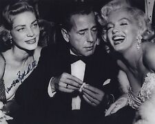 LAUREN BACALL SIGNED AUTOGRAPHED BW 8X10 PHOTO HUMPHREY BOGART MARILYN MONROE