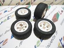 lego 4 x pneu, roue 30.4 x 14 avec janteblanche  white ref: 2994 / 6578