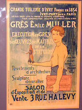 "F&G OLD FRENCH ART PRINT ON CARD ""GRES EMILE MULLER"" GALLERY LABEL 17.5 x 13.5"""