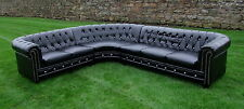 Black Bycast Leather Chesterfield Corner Group - Crystal Diamanté Buttons - New!