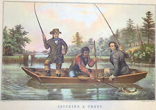 Catching A Trout Fishing Boat River Print 1952 Color Lithograph Currier Ives