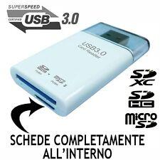 LETTORE DI MEMORIE CARD READER USB 3.0 SDXC SDHC SD MICROSD ADATTATORE PENDRIVE