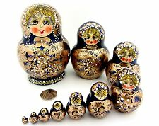 Russian HAND PAINTED stacking dolls 10 DARK NAVY BLUE GOLD AYMASOVA signed GIFT