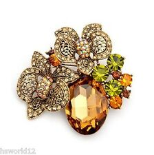 UK Women Brown Vintage Gold Large Flower Brooch Jacket Bouquet Pin Bouquet Hijab
