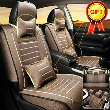 Linen Car Seat Cover Cushion Front & Rear w/Neck Lumbar Pillows 5-Seats Coffee L