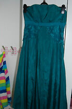 Monsoon strapless silk dress, wedding, prom, party size 10. Green, teal, blue
