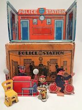 POLICE Station w BOX Vintage 1920's Marx Home Town Series Tin Toy House