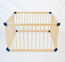 NEW KIDDY COTS LINK 100 SQUARE 4 PANEL BABY PLAYPEN NATURAL WOODEN 1.1 METER