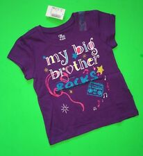 "NEW* ""My Big Brother Rocks"" Baby Girls Graphic Little Sister Shirt 2T 3T Gift SS"