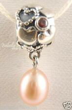 PEARL OF HEARTS Authentic PANDORA Hanging Dangle SILVER~BROWN CZ STONE Charm NEW