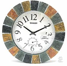Sharp Faux Stone Indoor or Outdoor Wall Clock with Thermometer 10 Inch New