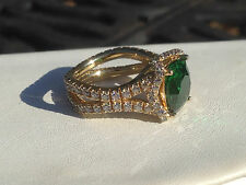 Victoria Wieck Gold on Sterling Silver Simulated Emerald Absolute Eternity Ring