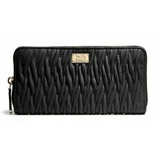 NWT COACH MADISON ACCORDION ZIP GATHERED TWIST LEATHER WALLET 49609 LI/Black