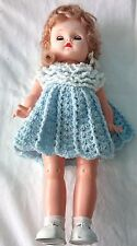 "Vintage 16"" Doll Blonde Curly Hair Blue Sleepy Eyes Handmade Crochet Dress"