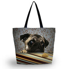 Cute Pug Soft Foldable Women's Shopping Bag Shoulder Carry Bag Lady Handbag