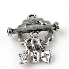 5Sets Tibet Silver Clasps Hooks Lock Shaped Charms Craft Jewelry Findings DIY