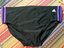 Adidas Mens Black/Purple SwimSuit/Bikini - black front liner Size 38 - NWOT