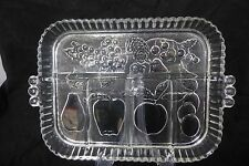 Indiana Glass Divided Serving Dish. Fruit, Appetizers, Candy,Cheese Platter
