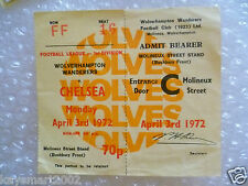 1972 Ticket Wolverhampton Wanderers v Chelsea- 3rd April 1972
