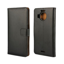 For Nokia Lumia 950 Black Genuine Leather Wallet Style Card Case Cover Stand