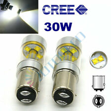 2 x 7225 BAZ15d P21/4W CANBUS WHITE CREE 6-SMD LED 30W STOP TAIL DUAL FILAMENT