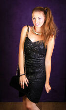 Vintage noir peau de serpent en cuir souple sequin beaded designer robe jacques sac