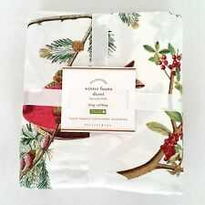 New! Pottery Barn WINTER FAUNA King Duvet Holiday Bird