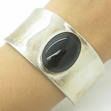 Mexico Sterling Silver Large Black Onyx Gem Ultra Wide Smooth Cuff Bracelet 6""