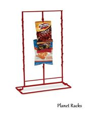 1 Planet Racks Triple 3 Row Wire Snack Chip Standing Clip Strip Display - Red