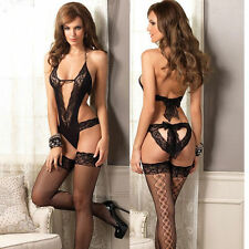 Black Bra Sets Sexy Babydoll Lingerie Lace Dress Underwear Sleepwear G-string UK