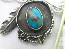 Necklace handcrafted Pendant 925 sterling silver natural turquoise feather
