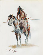 "1903 Charles Russell, Western Art, Indian, Native American Paint Horse, 14""x11"""