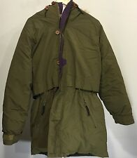 Woolrich Mens Medium Arctic Parka Coyote Fur Hood  Down Fill Full Zip Olive EUC