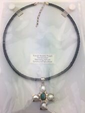 Sterling Silver Cross Pendant w/ Water Pearl & Turquoise & Blue Leather Necklace