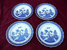 ROYAL DOULTON SET 4 SALAD PLATES 8.5 INCHES REAL OLD WILLOW MAJESTIC BLUE WHITE