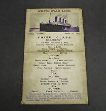 White Star Line, RMS Titanic, 3rd Class Steerage Day Menu April 14th 1912