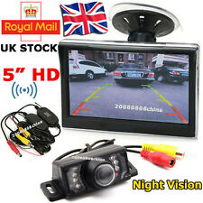 "Wireless Car Reverse Rear View Kit 7LEDs IR Reversing Camera + 5"" HD LCD Monitor"