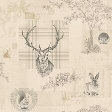Richmond Charcoal Linen Rustic Tartan Stag Feature Wallpaper by Holden 98012